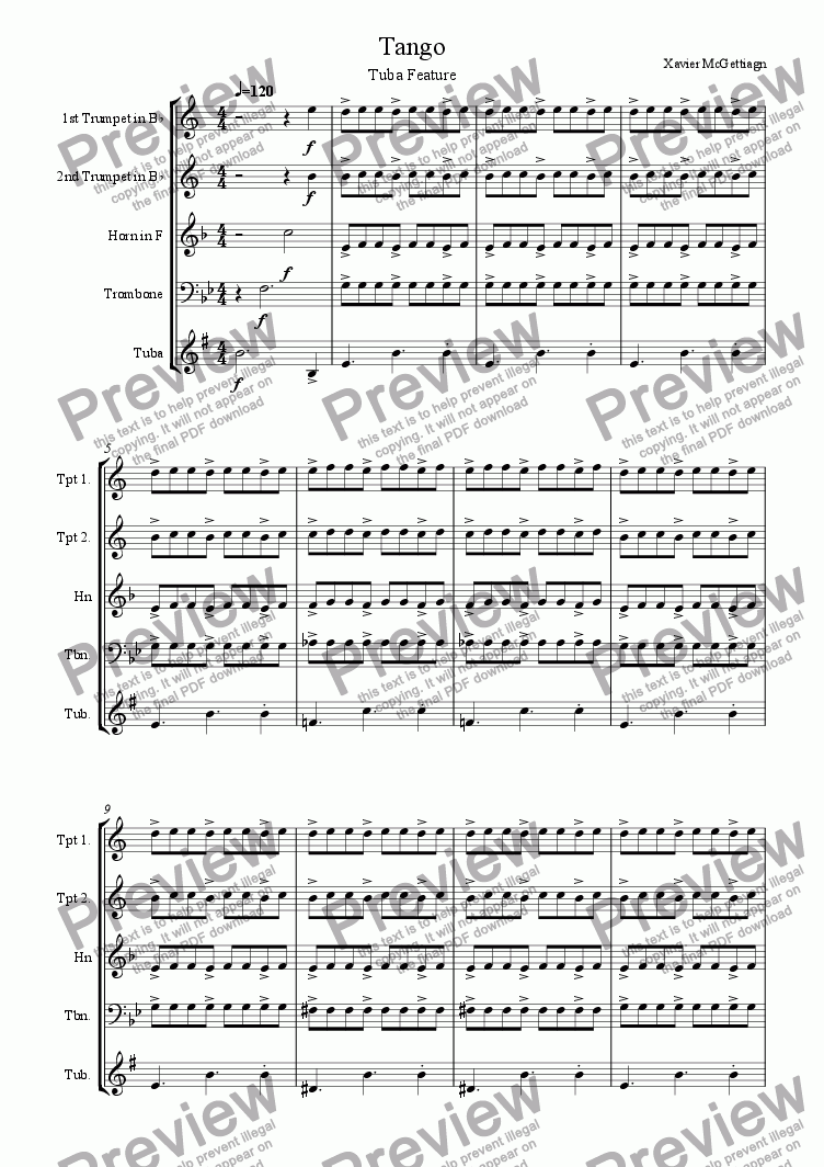 page one of Tango in the Street (Brass Quintet)