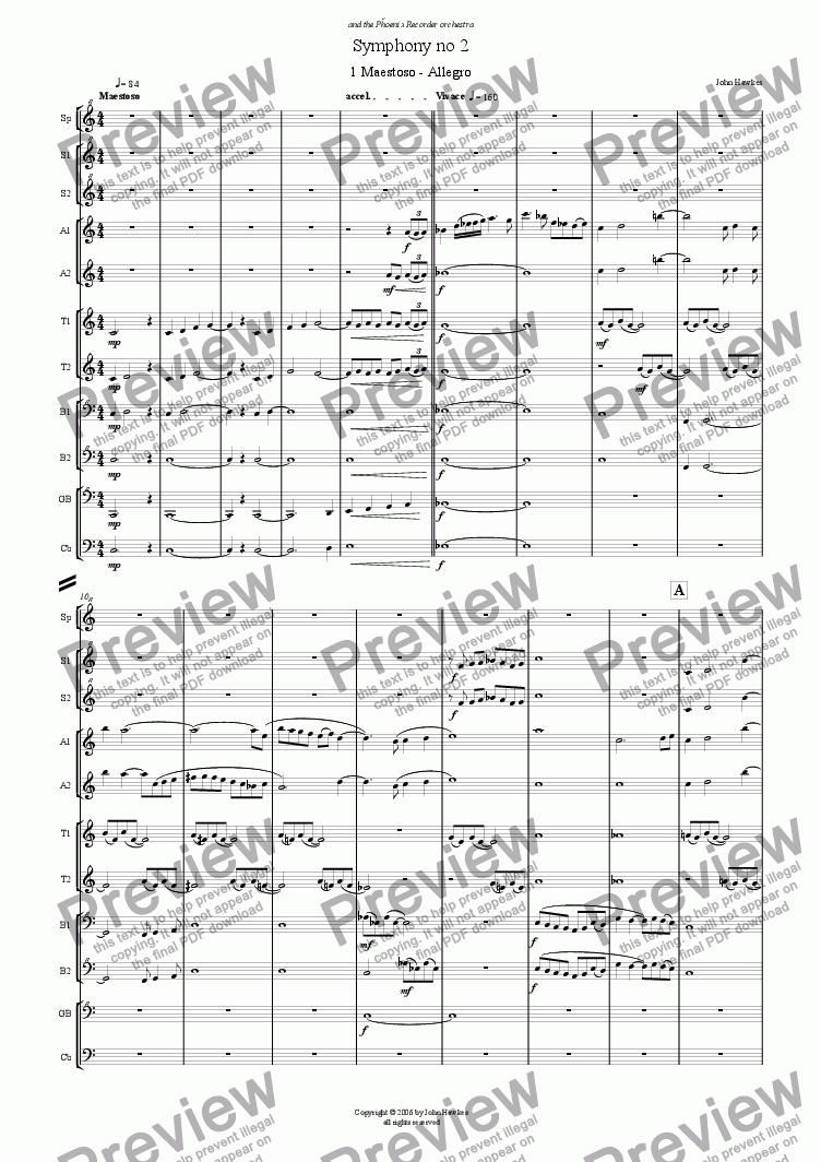 page one of Recorder Symphony no 2