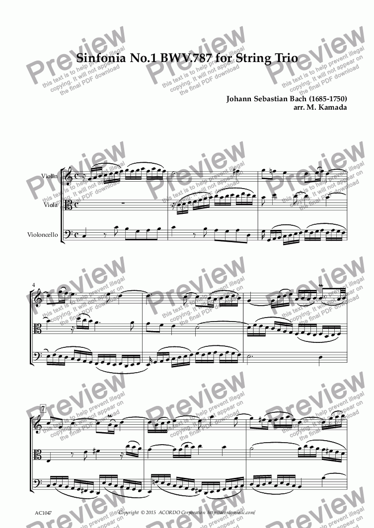 page one of Sinfonia No.1 BWV.787 for String TrioASALTTEXT