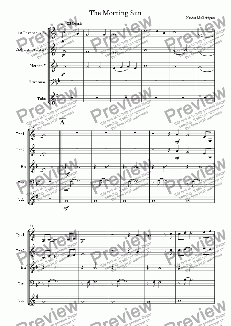 page one of The Morning Sun (Brass Quintet)