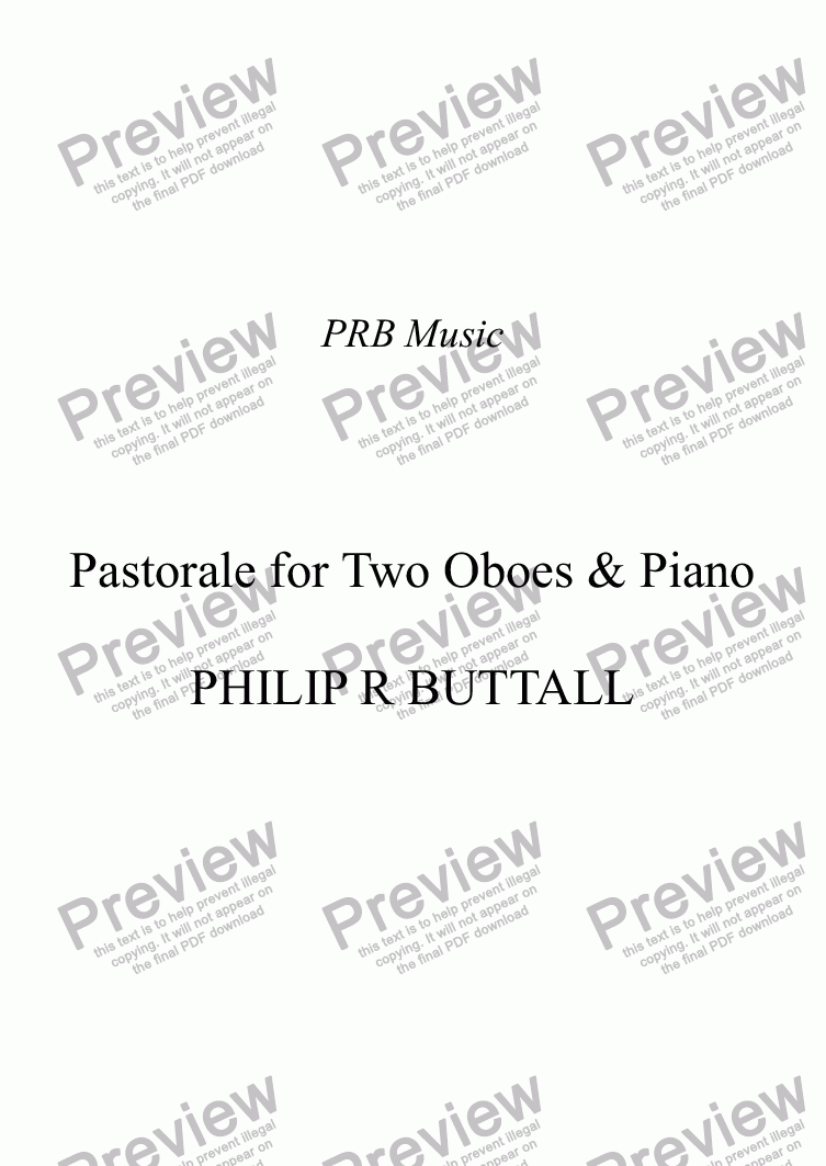 page one of Pastorale for Two Oboes