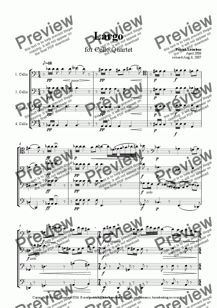 page one of Largo for Cello QuartetASALTTEXT