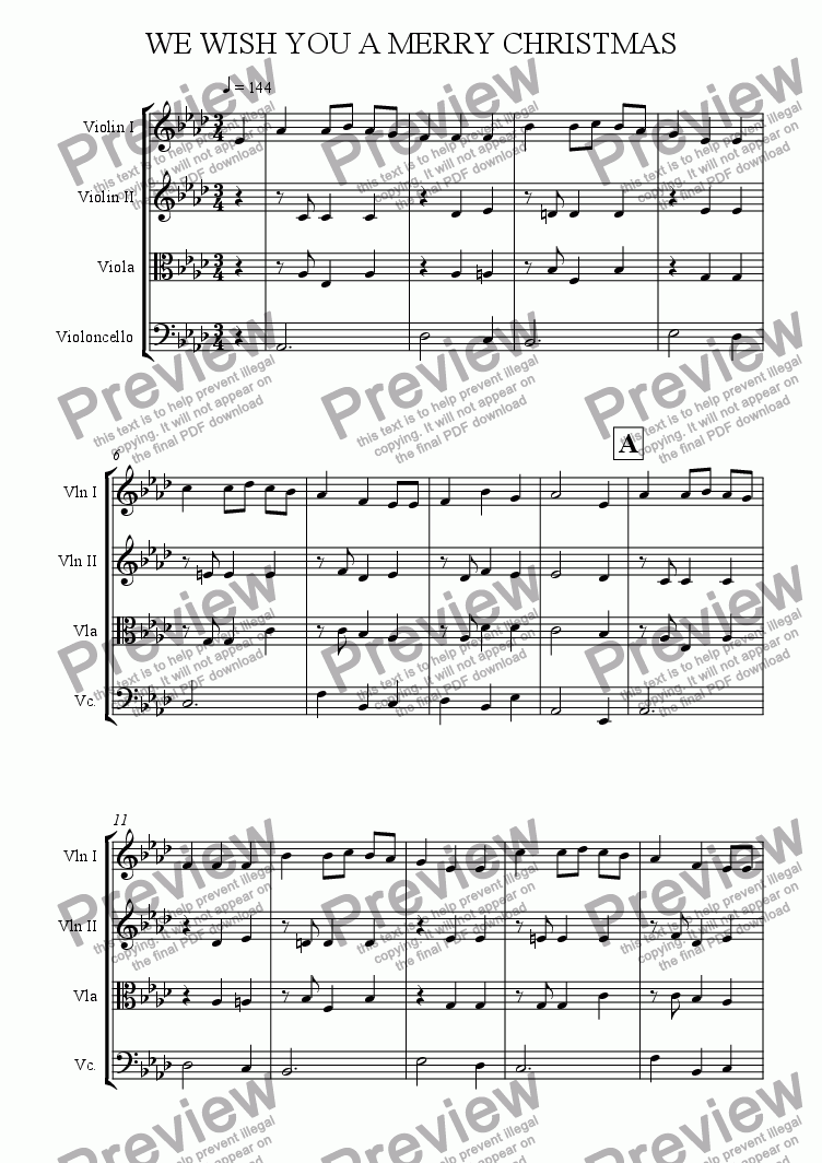 page one of We Wish You A Merry Christmas (String Quartet)ASALTTEXT
