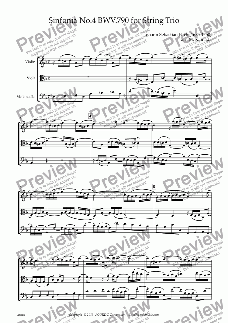 page one of Sinfonia No.4 BWV.790 for String Trio