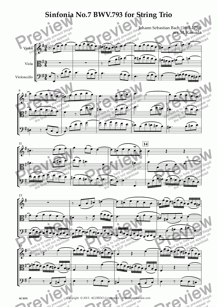 page one of Sinfonia No.7 BWV.793 for String Trio