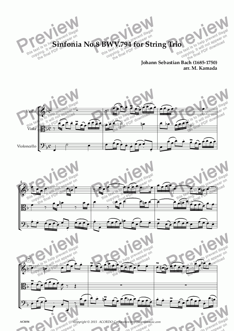 page one of Sinfonia No.8 BWV.794 for String Trio