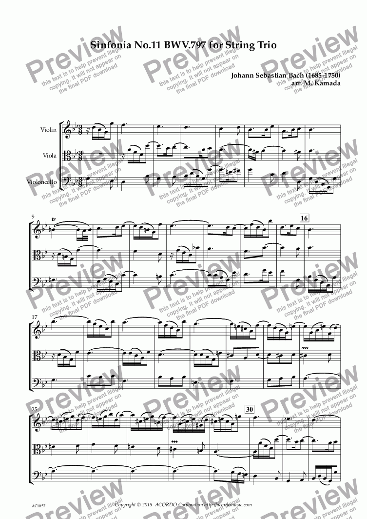 page one of Sinfonia No.11 BWV.797 for String Trio