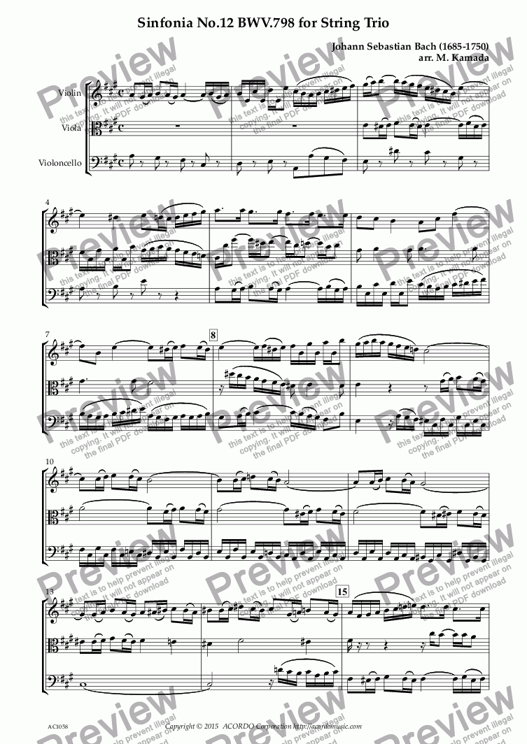 page one of Sinfonia No.12 BWV.798 for String Trio