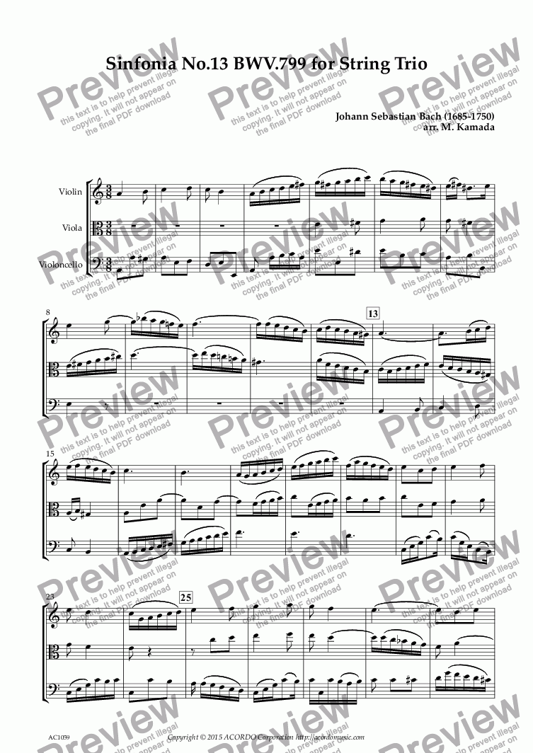 page one of Sinfonia No.13 BWV.799 for String Trio