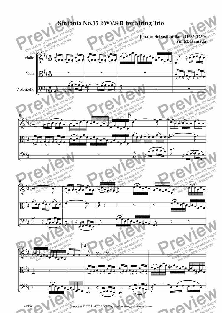 page one of Sinfonia No.15 BWV.801 for String Trio