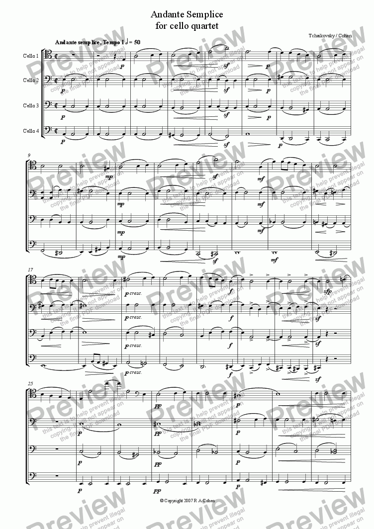 page one of Tchaikovsky/Cohen - ANDANTE SEMPLICE - for cello quartet