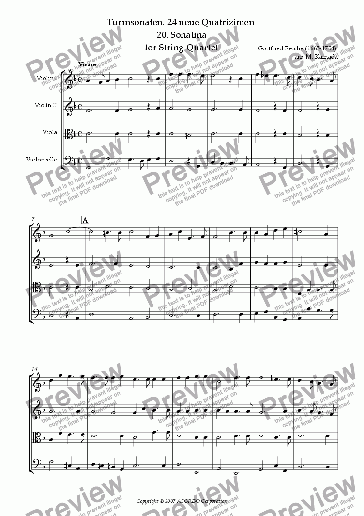 page one of Turmsonaten. 24 neue Quatrizinien 20. Sonatina for String Quartet