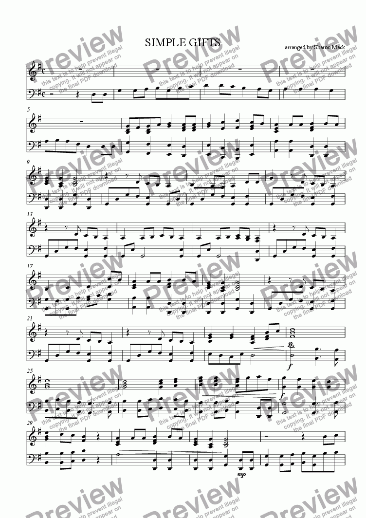 page one of Simple Gifts - optional piano