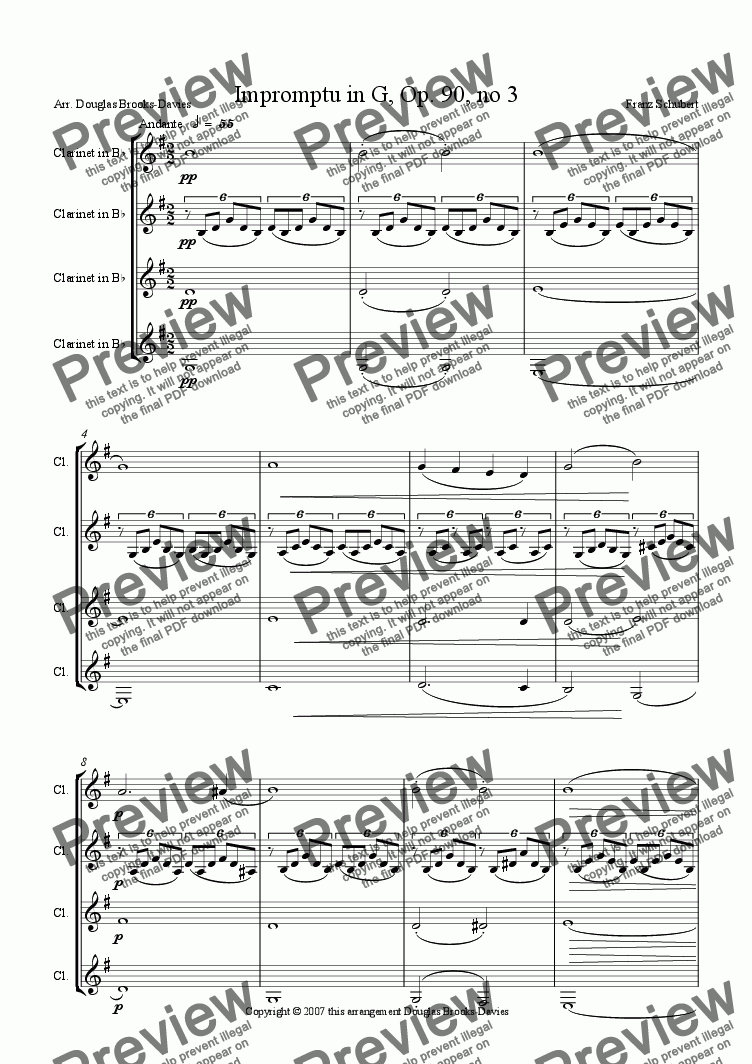 page one of Schubert: Impromptu in G (Op. 90, #3) for 4 clarinets
