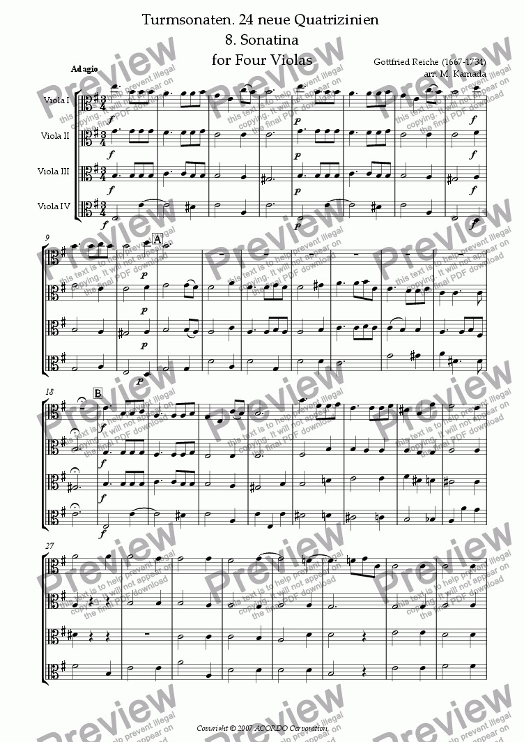 page one of Turmsonaten. 24 neue Quatrizinien 8. Sonatina for Four ViolasASALTTEXT