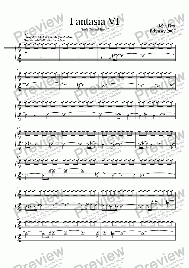 "page one of Fantasia 6  ""Half-Second-Hand"" [2007]"