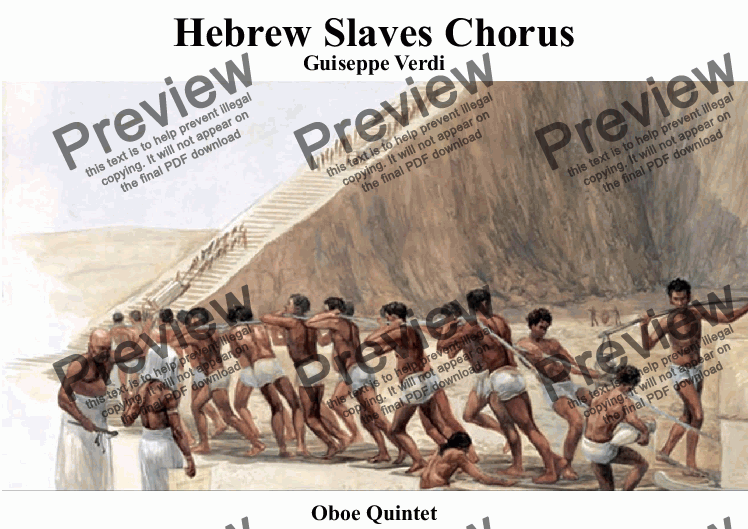 "page one of Slaves Chorus from Nabucco ( ""Va, pensiero"") for Oboe Quintet"