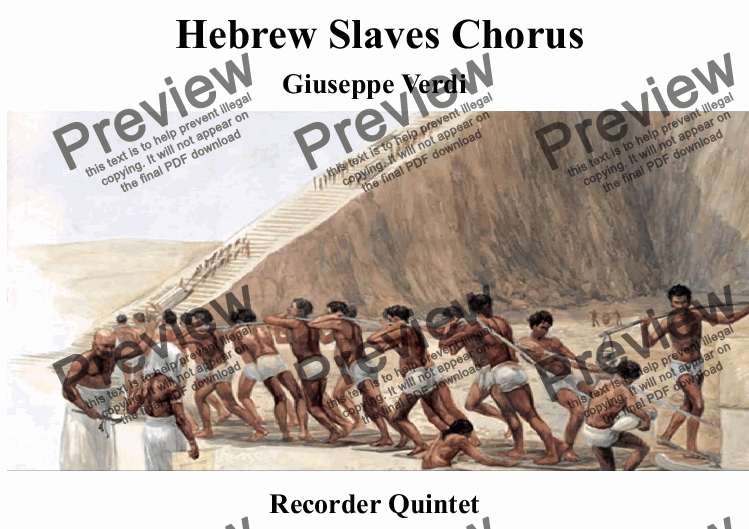 page one of Slaves Chorus from Nabucco for Recorder Quintet