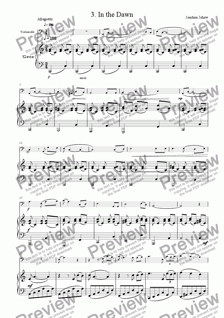 page one of Cello Book 03 (In the dawn)