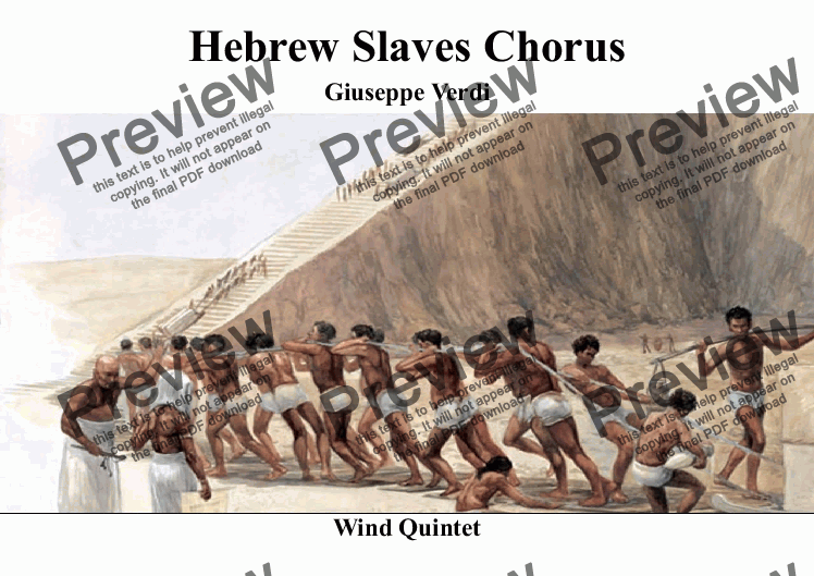 page one of Slaves Chorus from Nabucco for Wind QuintetASALTTEXT