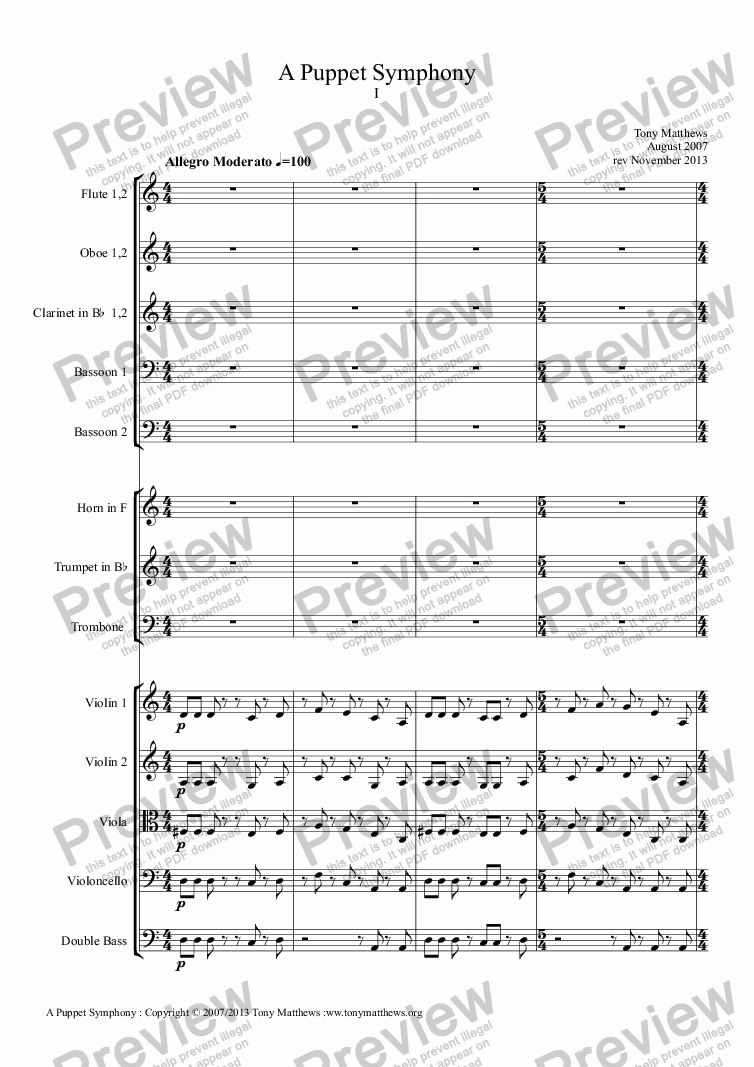 page one of A Puppet Symphony