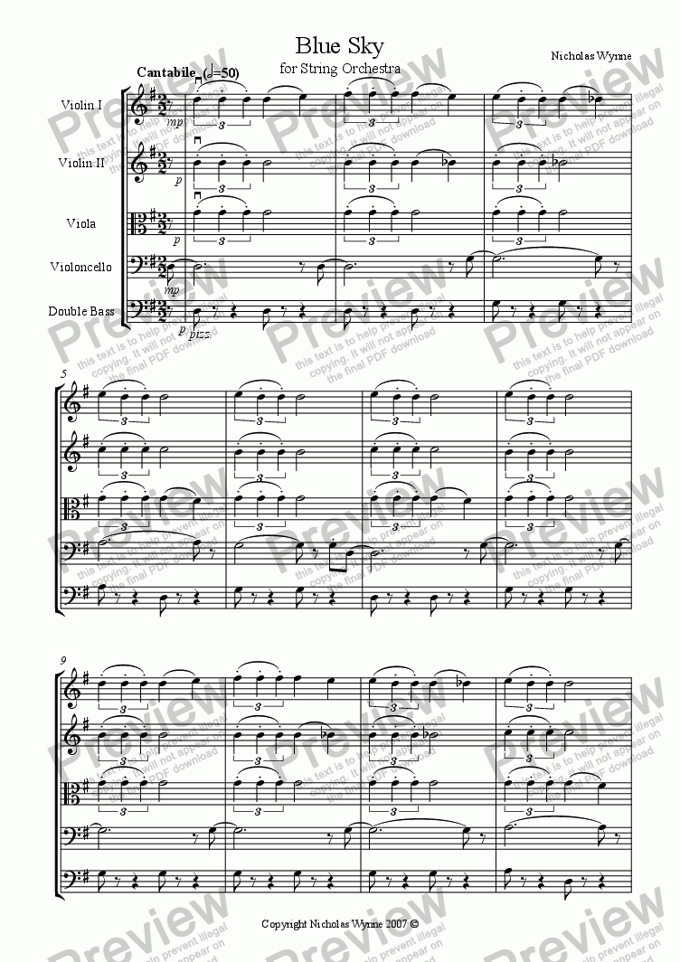 page one of Blue Sky for String Orchestra