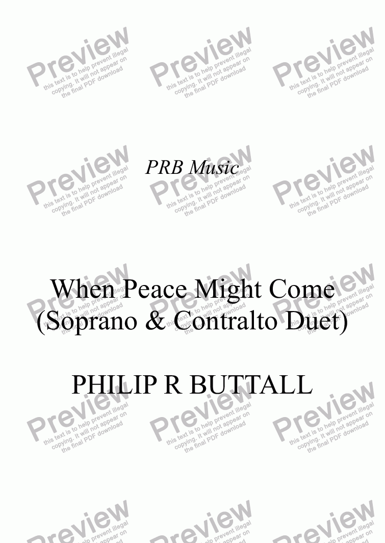 page one of When Peace Might Come (Duet)ASALTTEXT