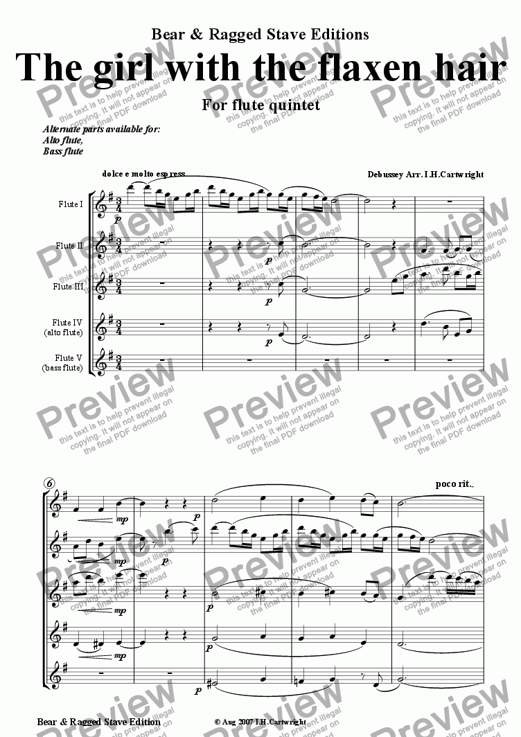 page one of The girl with the flaxen hair for flute quintet