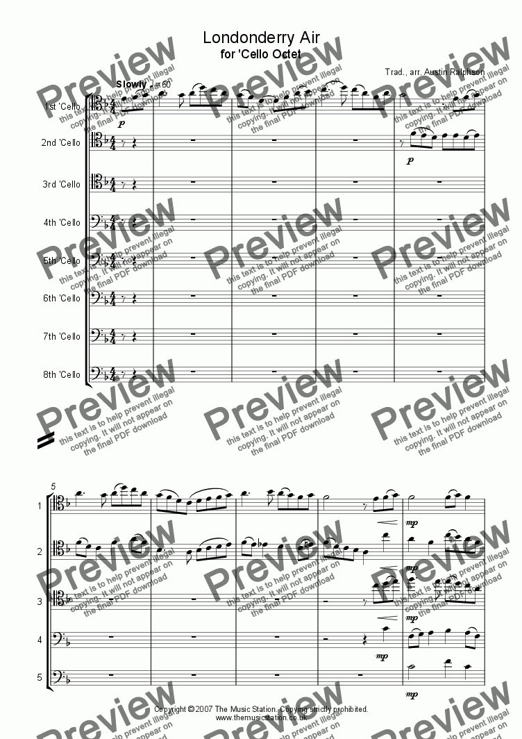 page one of Londonderry Air (Danny Boy) - 'cello octet