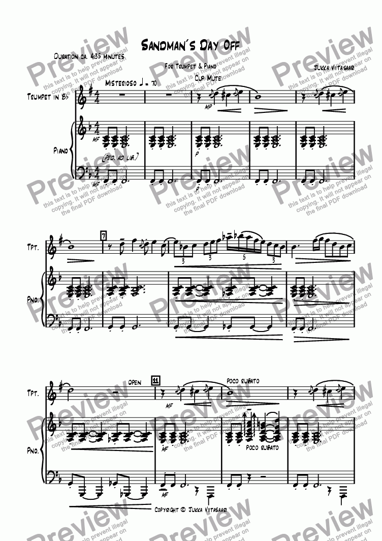 page one of Sandman´s Day Off (for Trumpet & Piano)