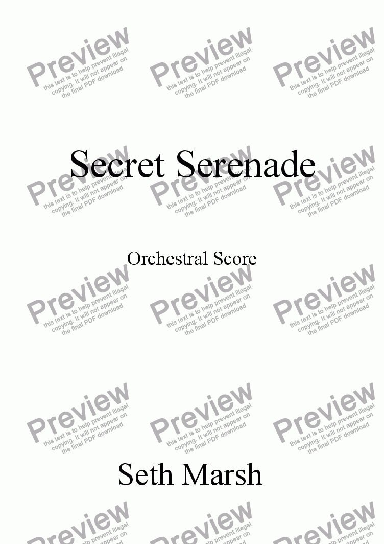 page one of Secret Serenade (orchestral version)
