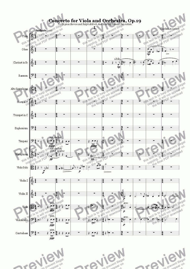 page one of Concerto for Viola and Chamber Orchestra, Op.19