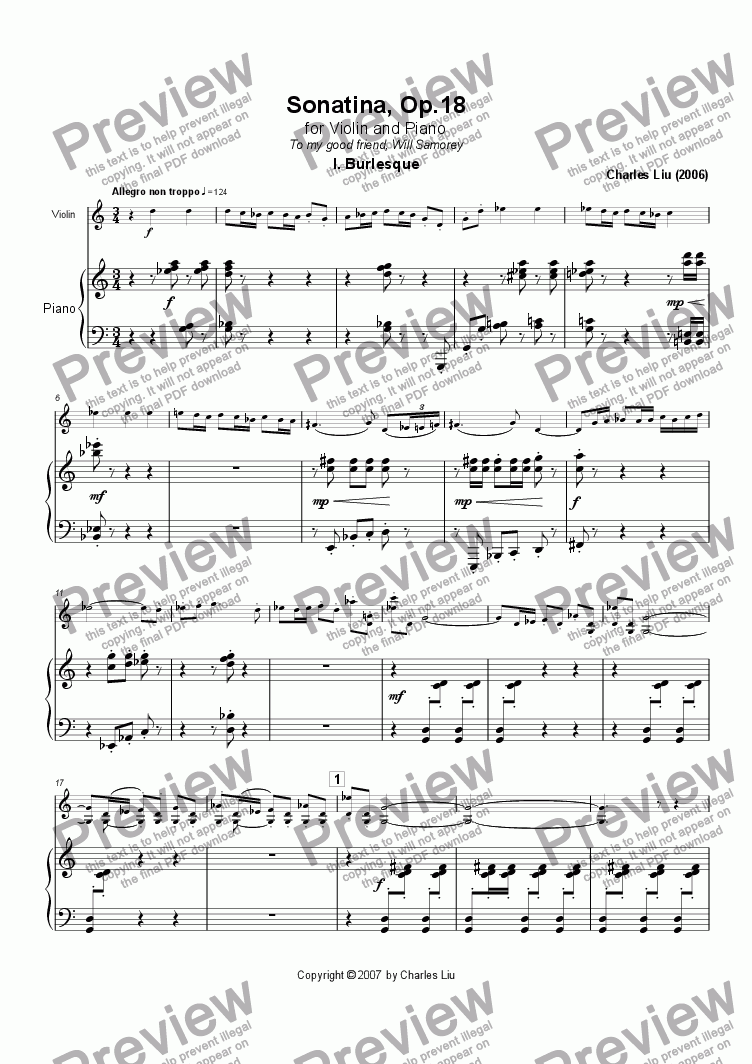 page one of Violin Sonatina