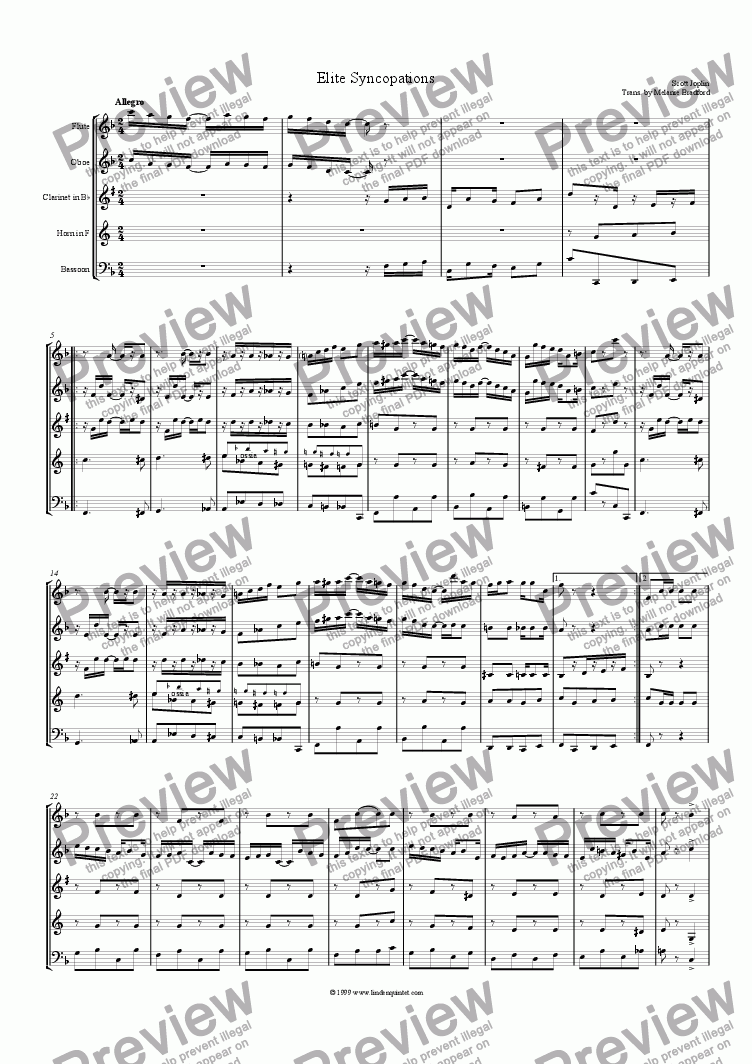 page one of Joplin - Elite SyncopationsASALTTEXT