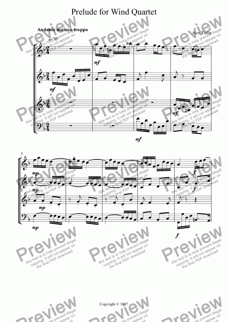 page one of Prelude for Wind Quartet