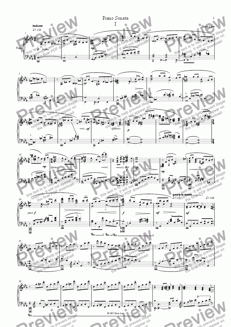 page one of Piano Sonata - first movement