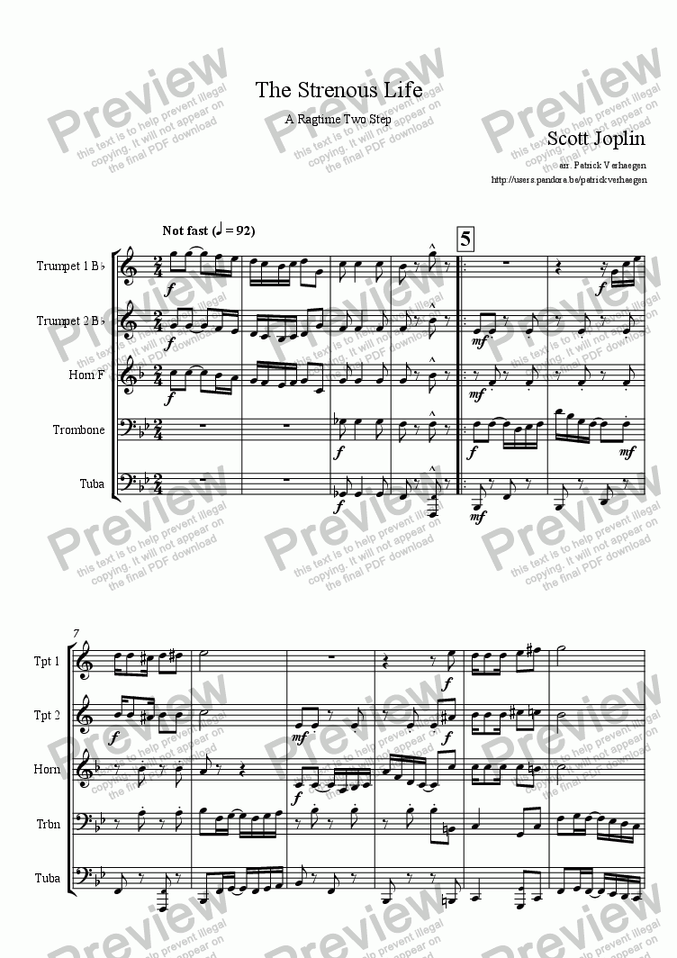 page one of The Strenuous Life (for brass quintet)