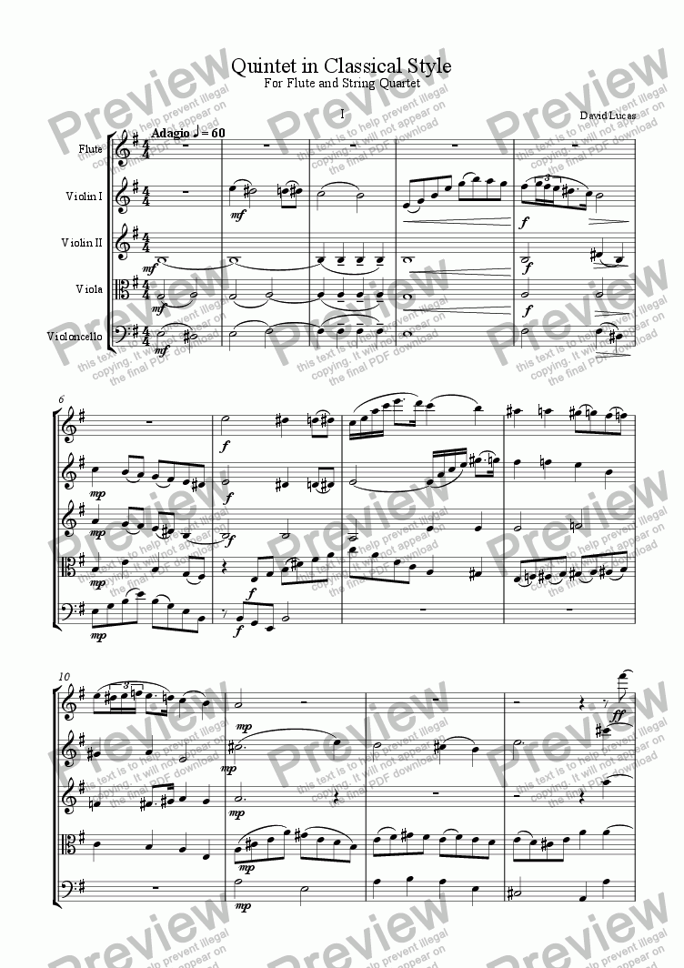 page one of Quintet in Classical Style for Flute and String Quartet 1st Movement