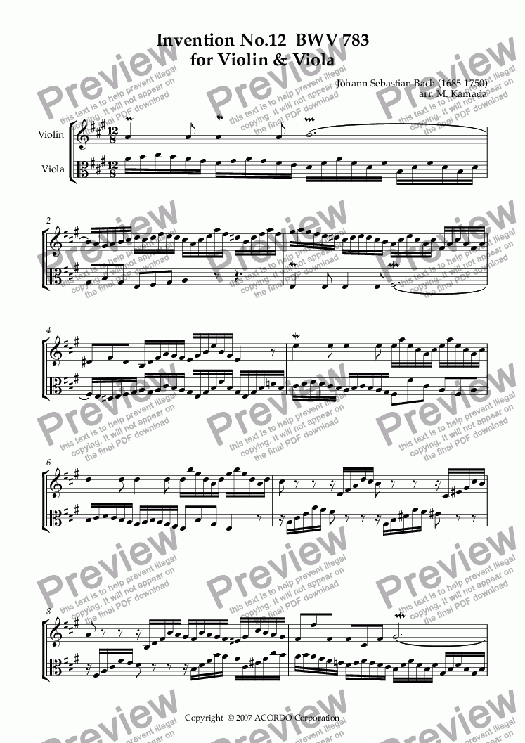 page one of Invention No.12 BWV 783 for Violin & Viola