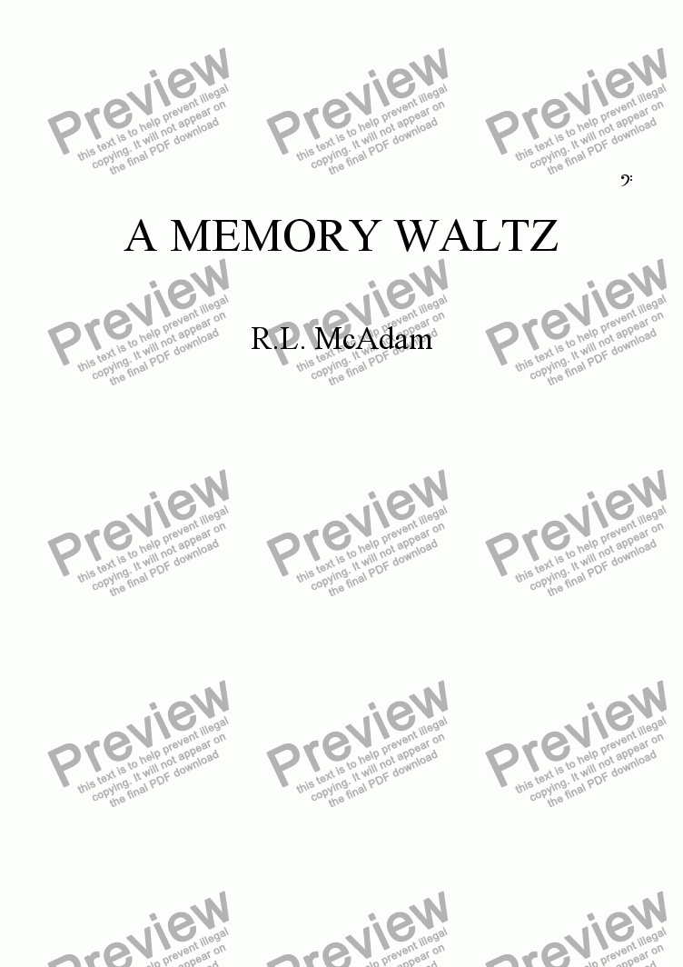page one of A MEMORY WALTZ