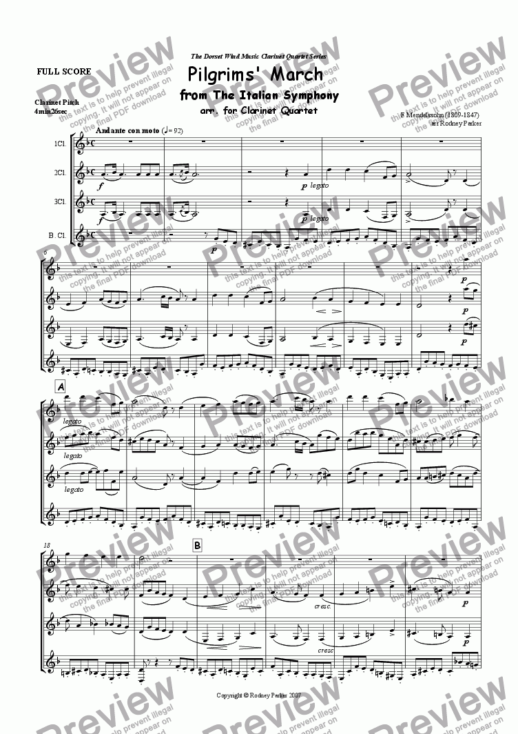 page one of Pilgrims, March from The Italian Symphony