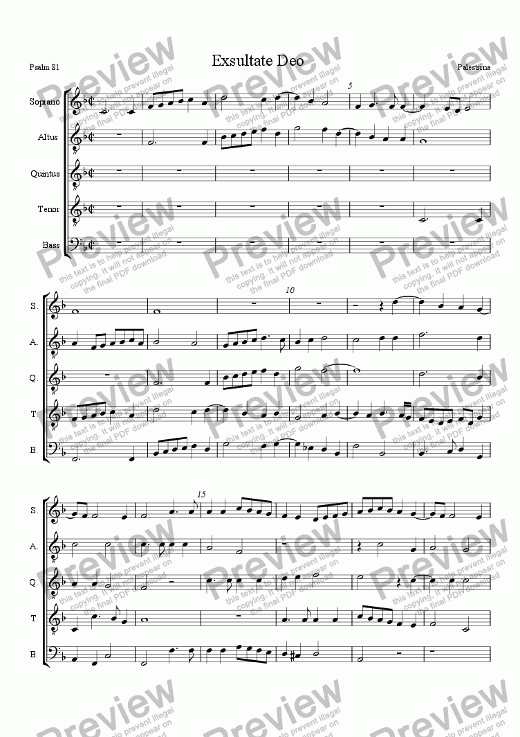 "page one of Palestrina for Recorders: ""Exsultate Deo"" a5"