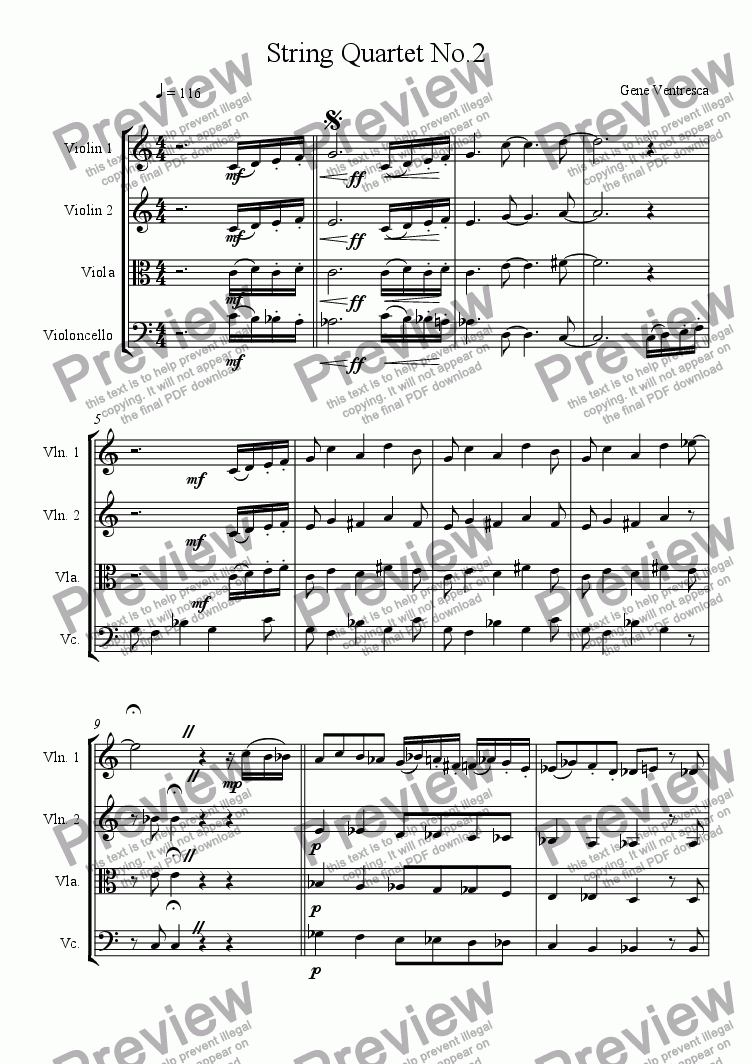 page one of string quartet no.2