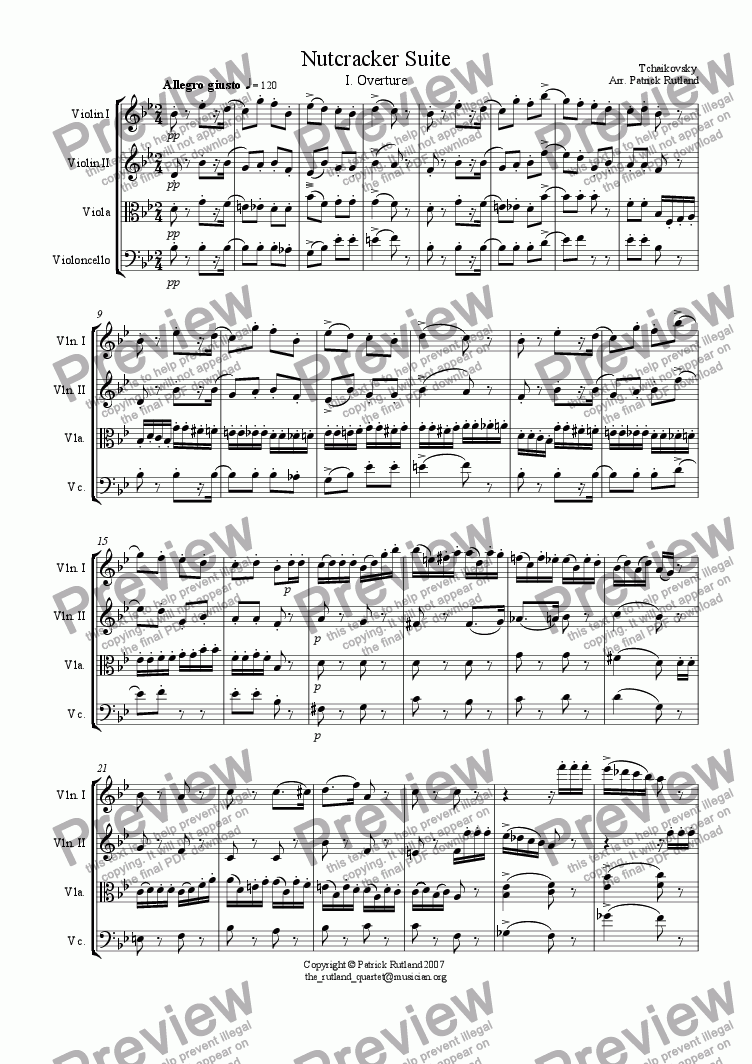 page one of Overture to The Nutcracker