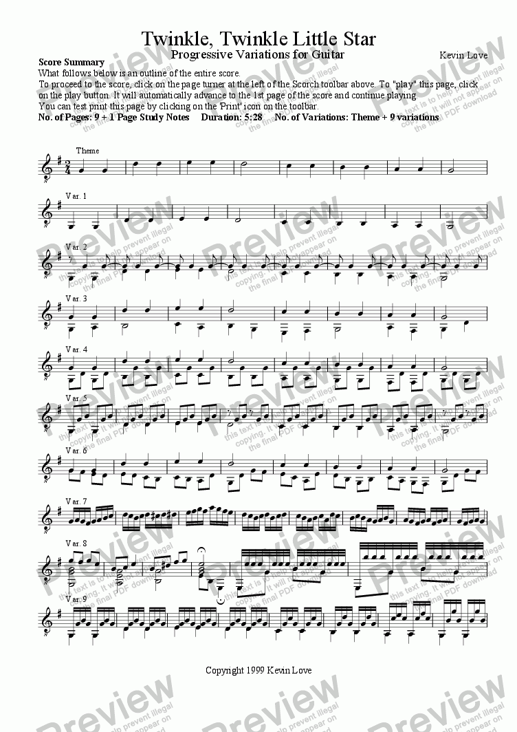page one of Twinkle, Twinkle Little Star - Progressive Variations for GuitarASALTTEXT