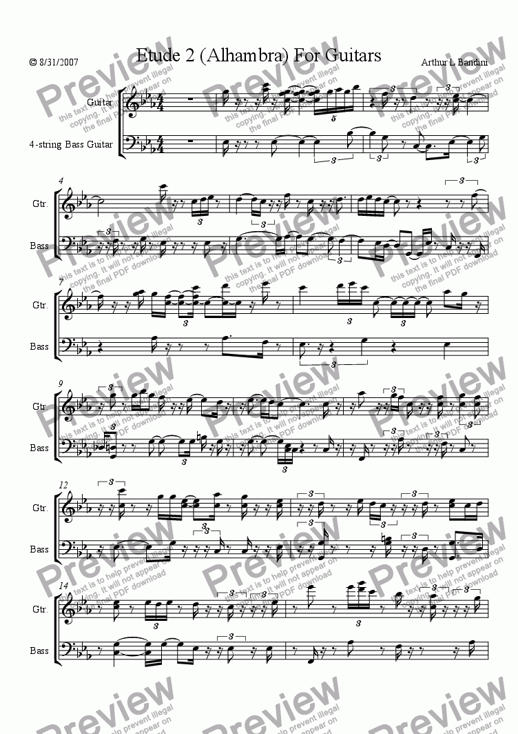 page one of Etude 2 (Alhambra) For Guitars