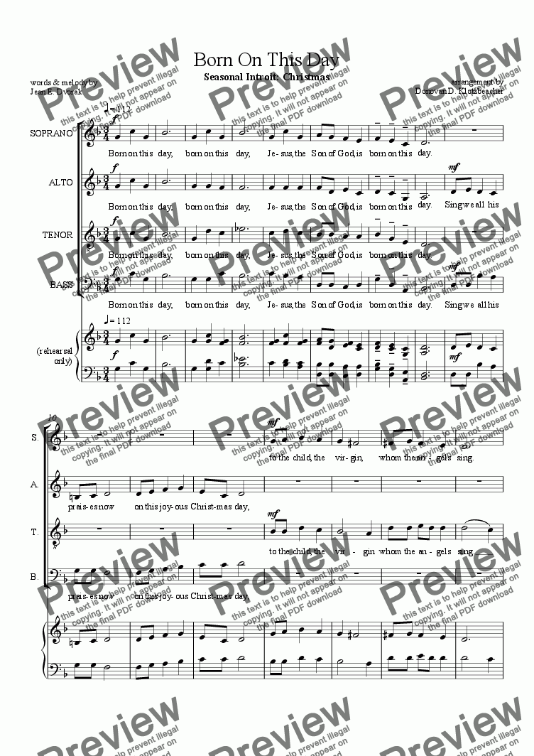 page one of Choral Introit: Born On This Day