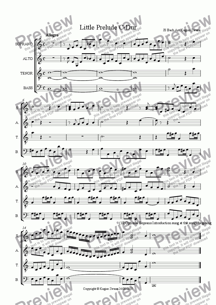page one of Little Prelude C-Major