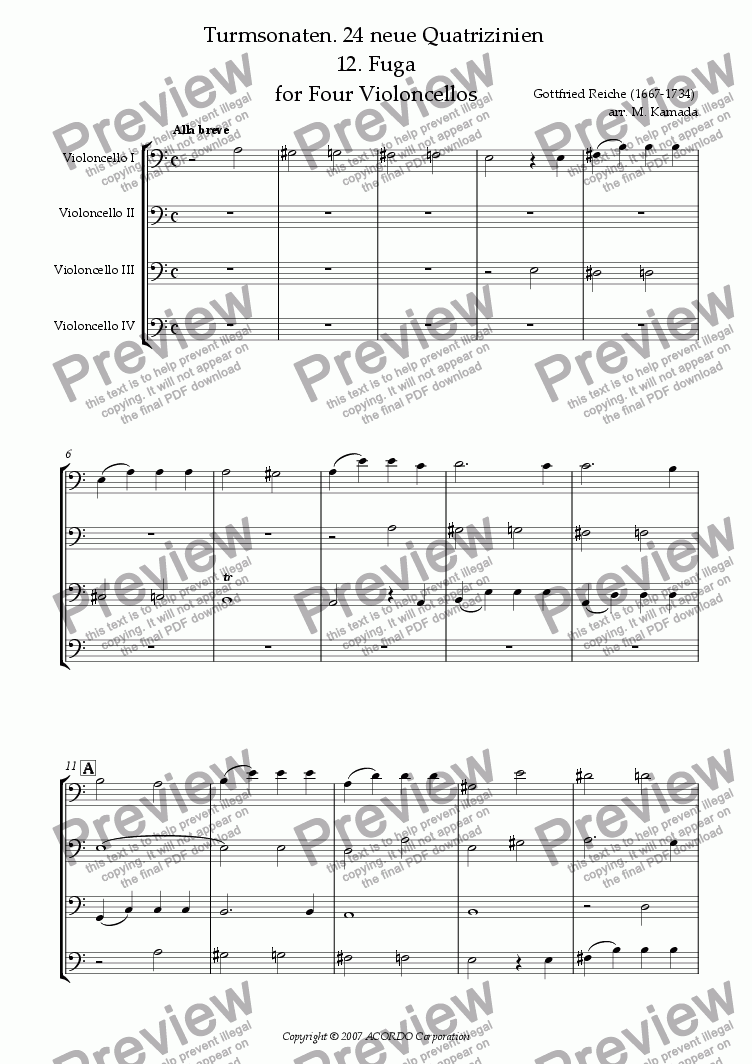 page one of Turmsonaten. 24 neue Quatrizinien 12. Fuga for Four Violoncellos