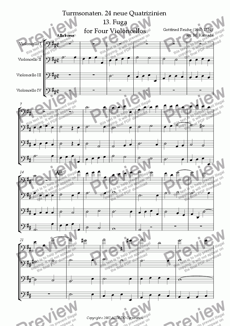 page one of Turmsonaten. 24 neue Quatrizinien 13. Fuga for Four Violoncellos